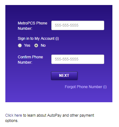 Metro PCS Bill Pay Log...T Mobile Payment Address